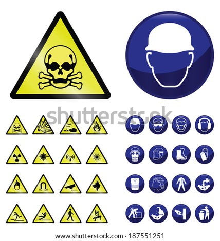 Construction mandatory health and safety and hazard warning sign collection isolated on white background - stock photo