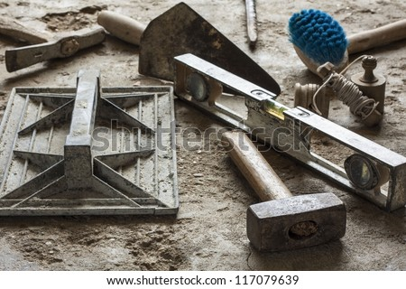 Construction masonry cement mortar tools - stock photo