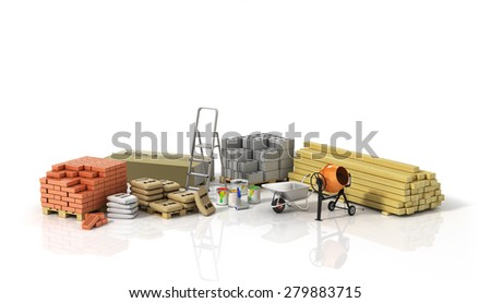 Construction materials on the white background. - stock photo