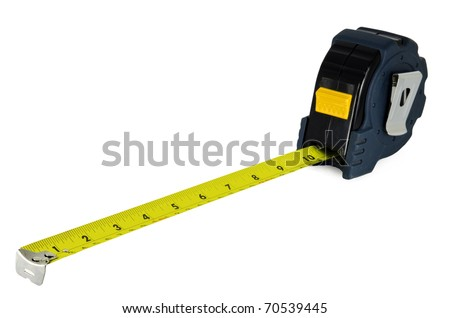 Construction Measuring Tape Isolated on White Background - stock photo