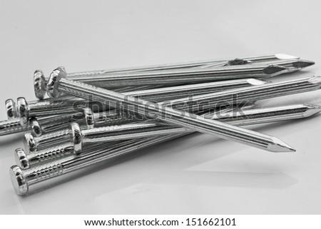 Construction nails. - stock photo