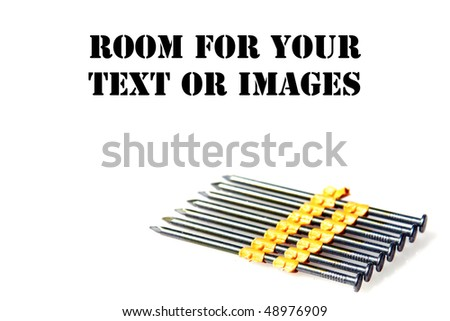 construction nails for a nail gun, isolated on white, with room for your text - stock photo