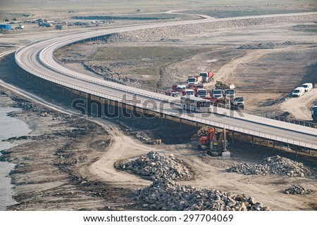 Construction of a bridge the road and walkway  - stock photo