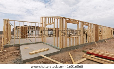 Construction of a house frame.