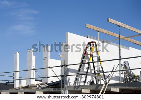 Construction of a house in the Netherlands - stock photo