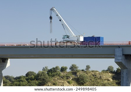 construction of a huge concrete bridge - stock photo
