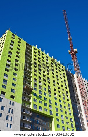 construction of a monolithic apartment house - stock photo