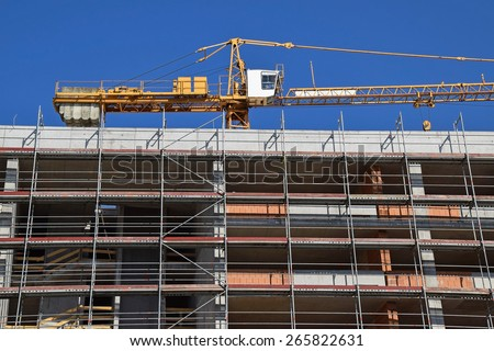 Construction of a new building - stock photo