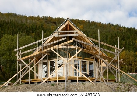 Construction of a new forest hut in Norway. - stock photo