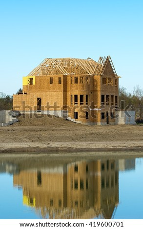 Construction of a new home - stock photo