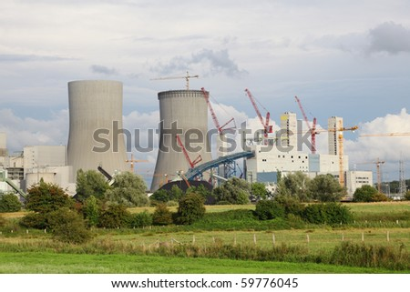 Construction of a nuclear power plant - stock photo