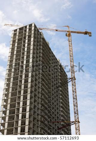 construction of a skyscraper - stock photo
