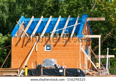 construction of a wooden house - stock photo