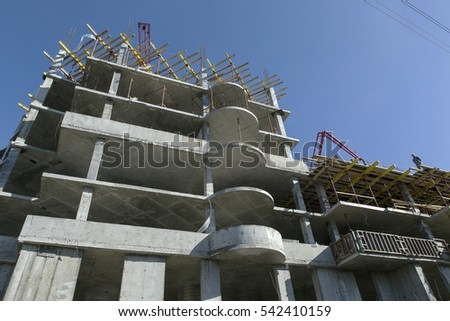 Construction of an apartment building.