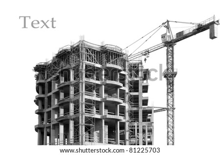 Construction of apartment buildings on the coast. isolated. - stock photo