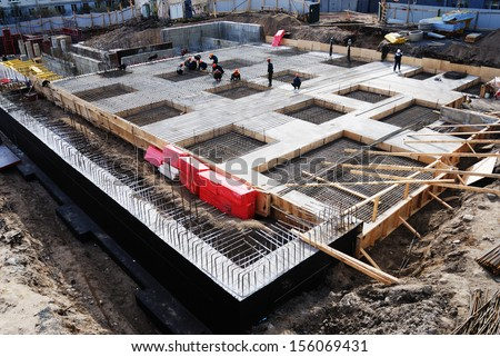 construction of concrete foundation of building, horizontal - stock photo