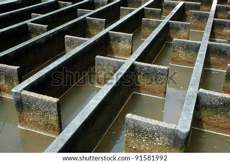 construction of drainage water filtration - stock photo