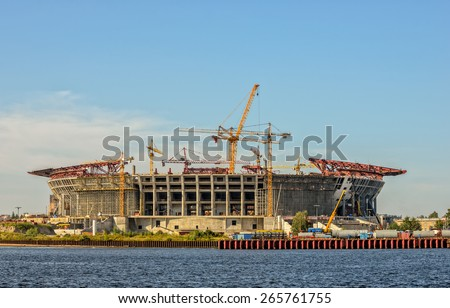 Construction of football stadium in St. Petersburg. Russia