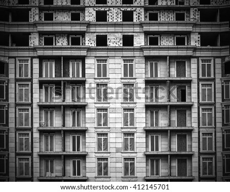 Construction of high residential buildings, architecture - stock photo