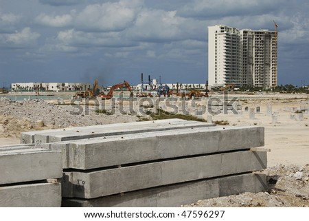 Construction of hotel condo - stock photo