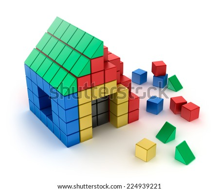 Construction of house from children's blocks. Isolated on white - stock photo