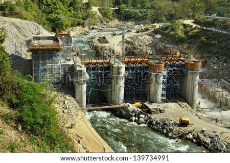Construction of Hydro Power Stations on the river Alaknanda near Rudraprayag. Uttarakhand, India - stock photo
