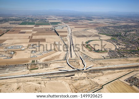 Construction of Interstate 10 Interchange at the 303 Freeway near Goodyear, Arizona - stock photo