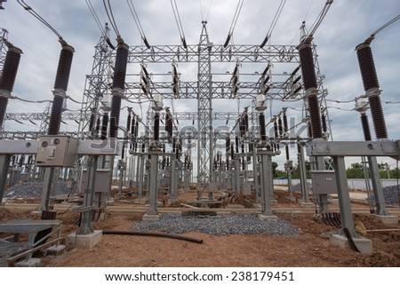 Construction of 115 kV high-voltage electric substation - stock photo