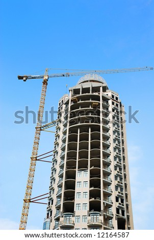Construction of modern building - stock photo