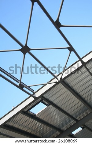 Construction of modern storehouse - stock photo