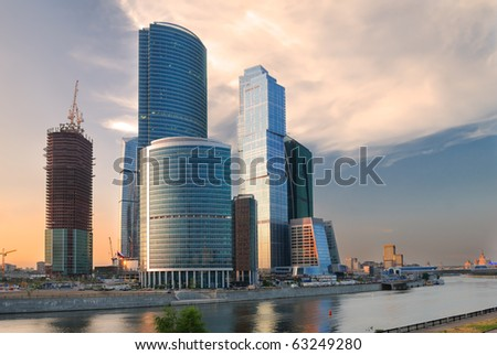 Construction of Moscow-city at the sunset - stock photo
