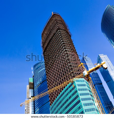 construction of multistory building - stock photo