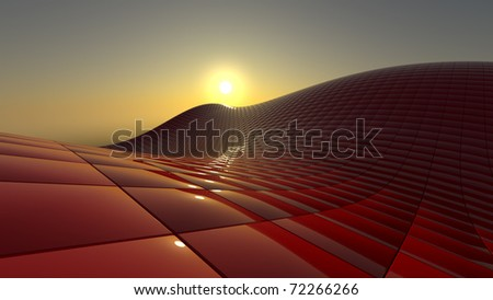 construction of red cubes - stock photo