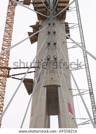 Construction of Sava bridge with one tower / Belgrade, Serbia - stock photo