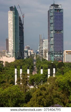 Construction of skyscraper in Mexico City. - stock photo