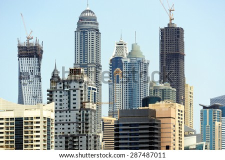 Construction of skyscrapers in Dubai Marina.