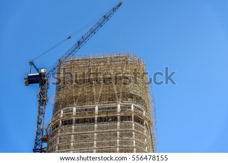 Construction of skyscrapers under blue sky