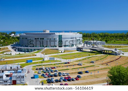 Construction of sports hall in Sopot, Poland. Photo taken on: June 28nd, 2010 - stock photo