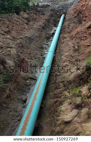 Construction of the blue pipeline - stock photo