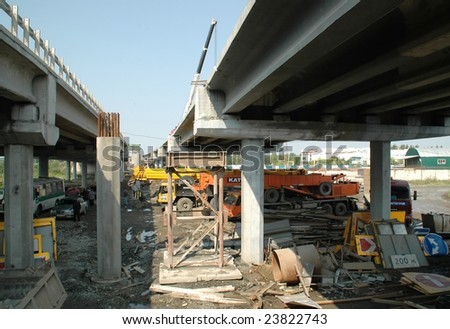 construction of the bridge - stock photo