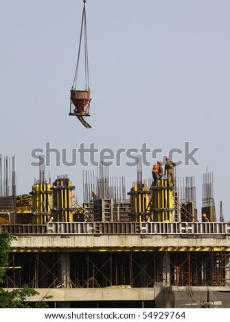 Construction of the building - stock photo