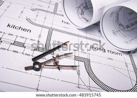 Construction building layout building drawing on stock for Building layout tool