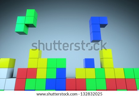 Construction of the cube on a gray background - stock photo