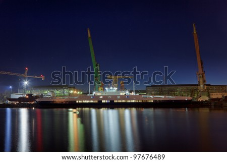 Construction of the ferry at the yard. - stock photo