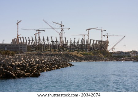 Construction of the FIFA 2010 world cup soccer stadium, Greenpoint, South Africa