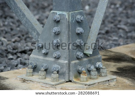 Construction of the foundations of high voltage pylons - stock photo