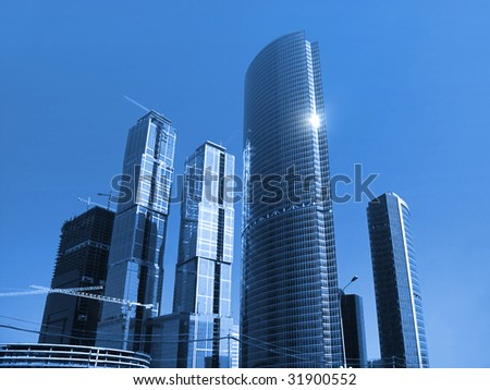 construction of the international business centre in Moscow, Russia - stock photo