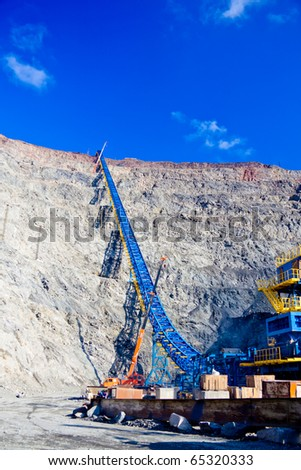 Construction of the ore conveyor - stock photo