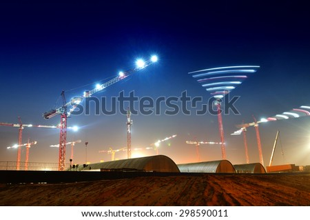 Construction of the stadium at night. Preparing for the championship in 2018 - stock photo