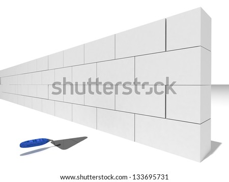 Construction of the wall of white brick - stock photo